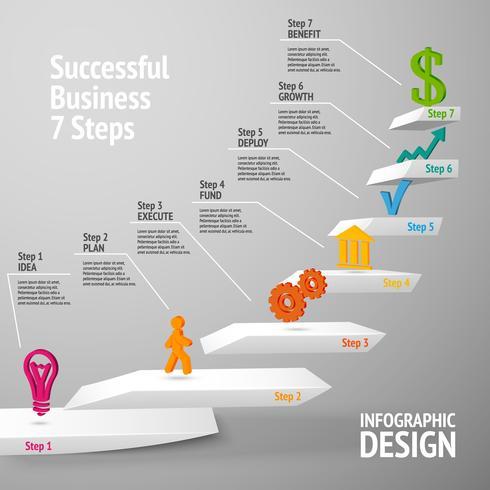 Succesvolle zakelijke trap infographic