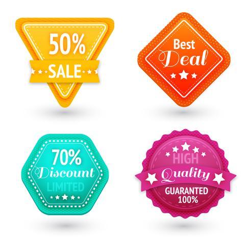 Set di segni e simboli di vendita