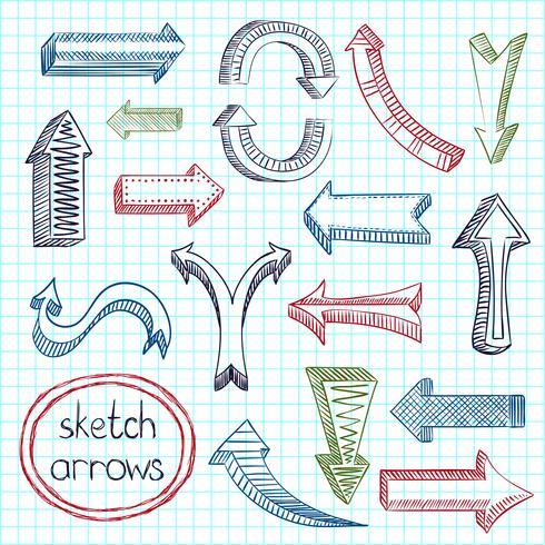 Arrows icon set sketch vector