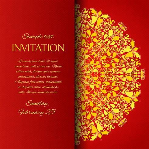 Tarjeta de invitación ornamental roja