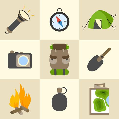 In openlucht toerisme kamperende geplaatste pictogrammen