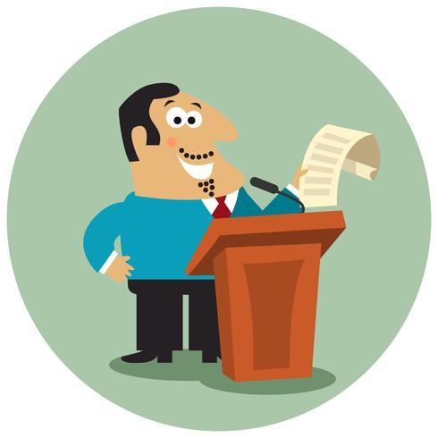 Chefe de negócios no tribune com microfone