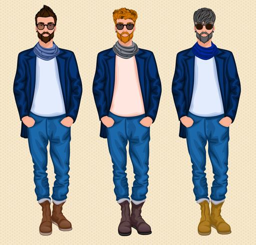 hipster man set vektor