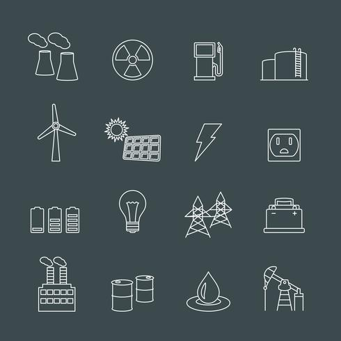 Energy power industry design elements vector