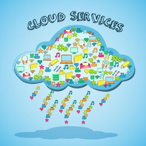 Cloud network technology service emblem