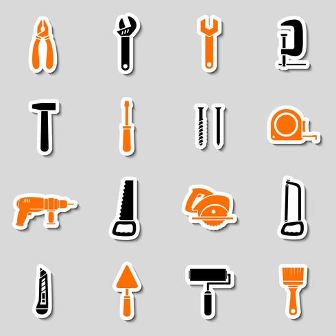 Collection of toolbox stickers vector