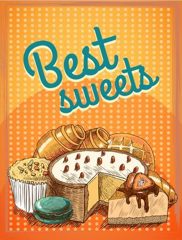 Mejor cartel de dulces de pastelería vector