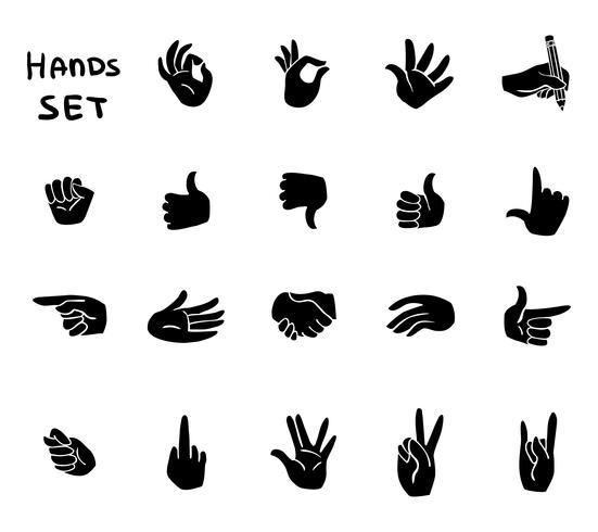 Hands gestures flat pictograms set vector