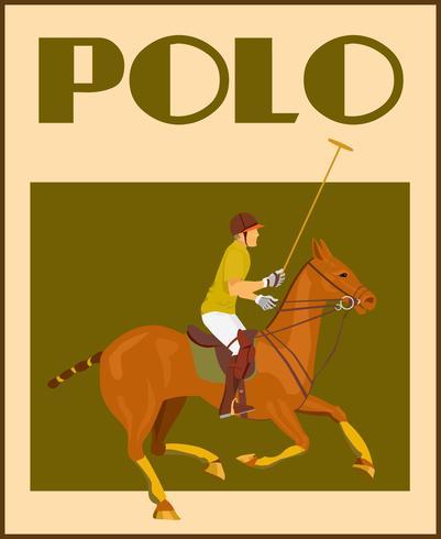 Polospieler auf Pferdeplakat
