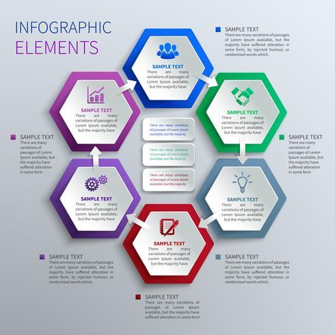 Papieren zeshoeken infographics
