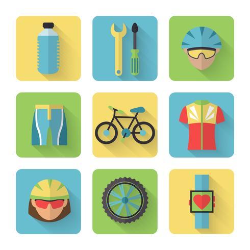 Set di icone piane di biciclette