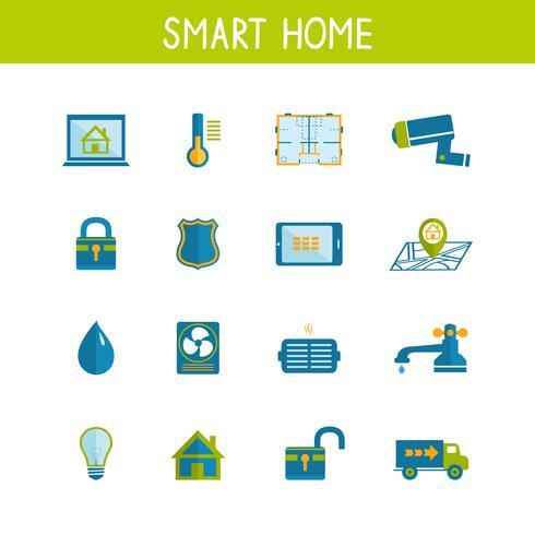 Intelligente Hausautomationstechnologie-Ikonen eingestellt