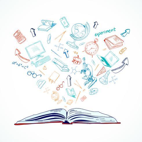 Doodle di concetto di educazione del libro aperto