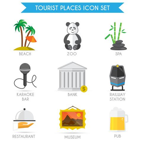 Costruire icone turistiche piatte