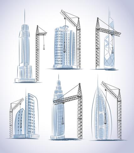 Geplaatste de bouwpictogrammen van wolkenkrabbersgebouwen vector