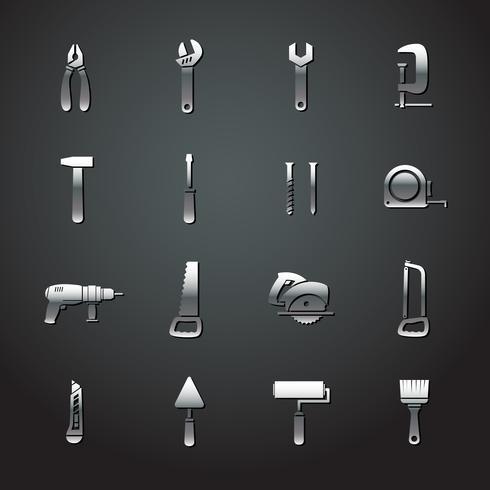 Colección de pegatinas de herramientas de metal