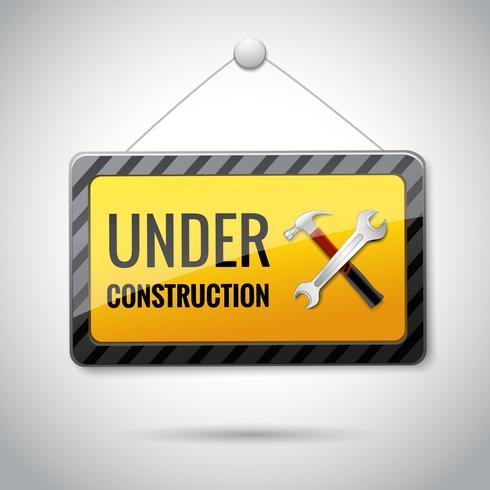 Under construction emblem icon vector