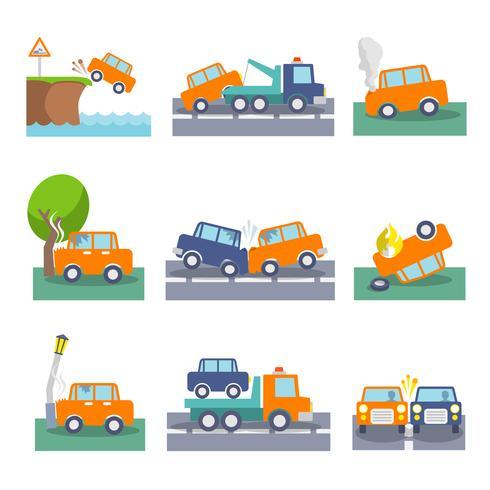 Iconos de accidente de coche