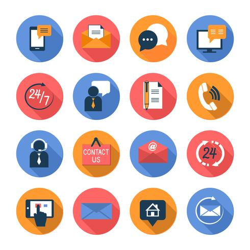 Customer care contacts flat icons set vector