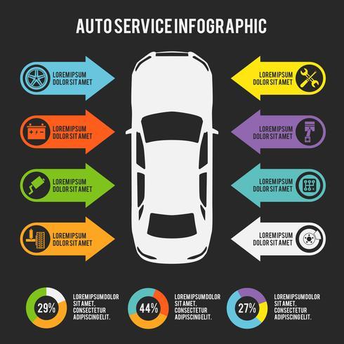 Auto service infographic vector