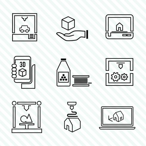 Imprimante 3d icônes définies