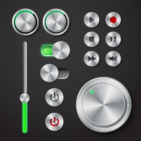 Colección de botones de interfaz de metal.