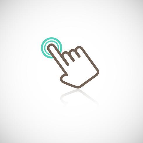 Tocando el icono de la mano vector
