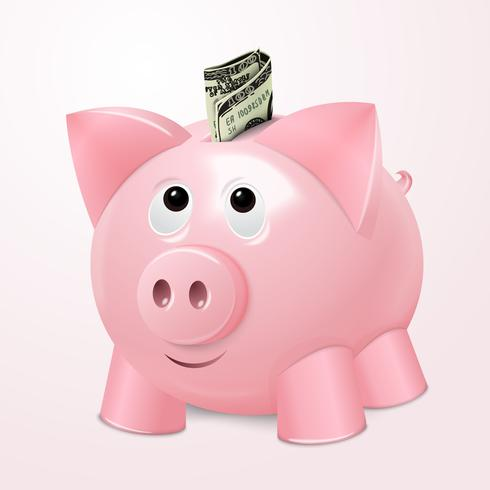 Piggy bank with dollar concept vector