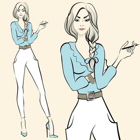 Moda mujer de pie emociones vector