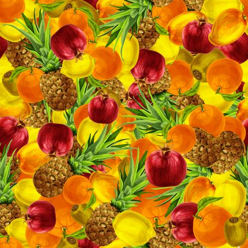 Tropical fruits seamless background vector