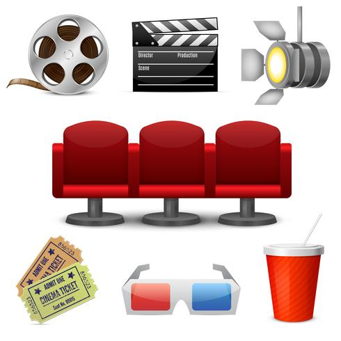Cinema entertainment decoratieve pictogrammen