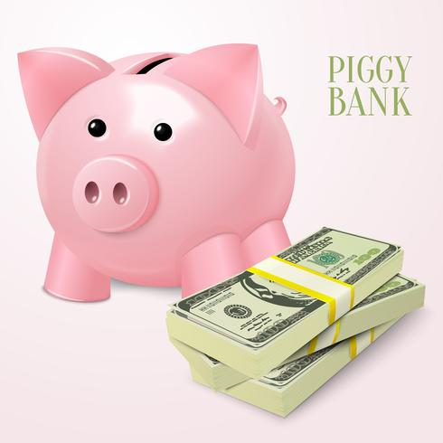 Piggy bank with dollars poster