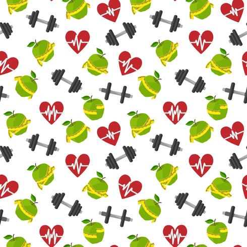 Fitness symbols seamless pattern vector