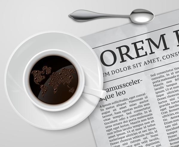Taza de café en el periódico vector