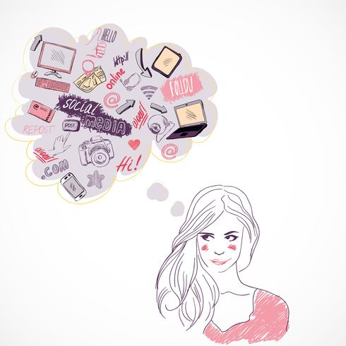 Girl thinking about social media technology vector