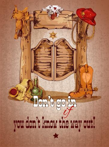 Affiche de saloon ouest sauvage vecteur