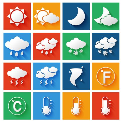 Conjunto de ícones de previsão do tempo