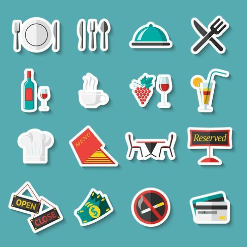 Adesivos de ícones de restaurante
