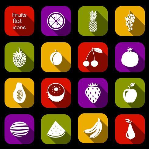 Frutas, ícones, apartamento vetor