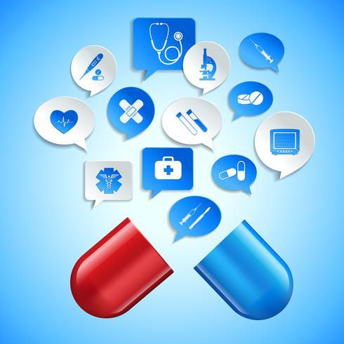 Medicin och sjukvård begrepp