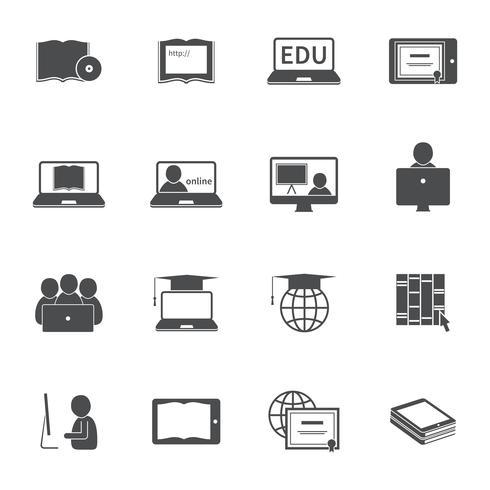 Jeu d'icônes de l'éducation en ligne