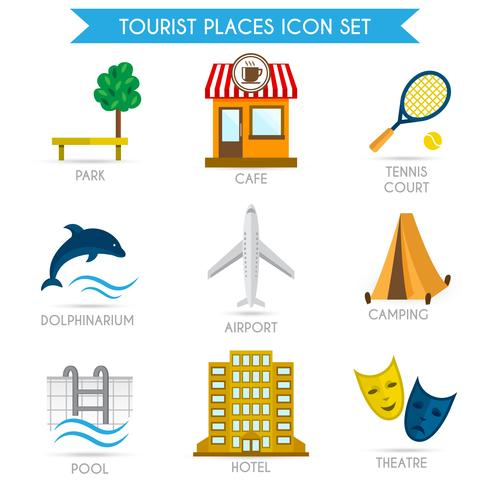 Building Tourism Icons Flat
