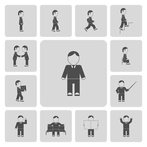 Iconos de actividades de hombre de negocios
