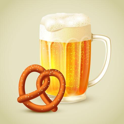 Mug of beer pretzel emblem vector