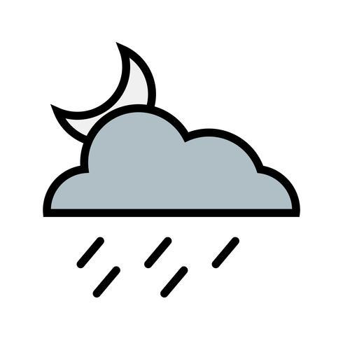 Icône de vecteur de pluie de nuit
