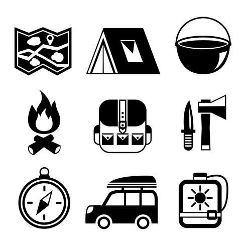 Turismo ao ar livre camping conjunto de pictogramas plana