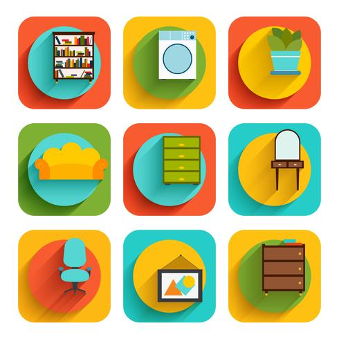 House Interior Furniture Icons vector