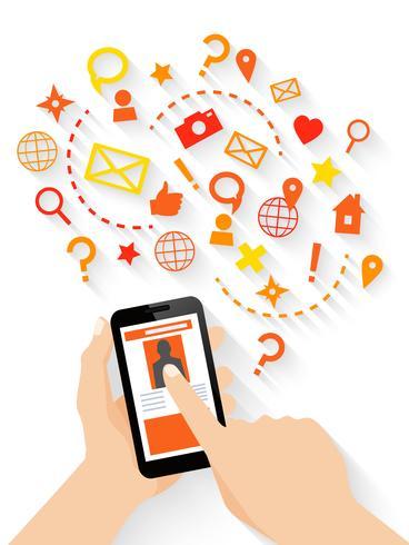 Handen met smartphone concept
