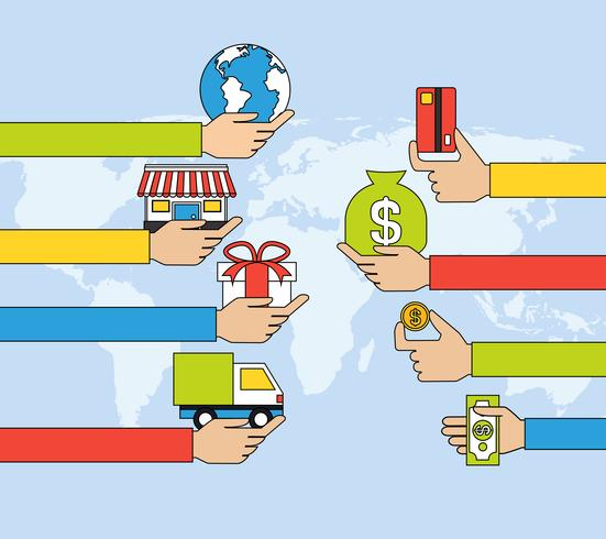 Linha plana de compras on-line vetor