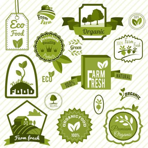 Etiquetas ecológicas verdes vector